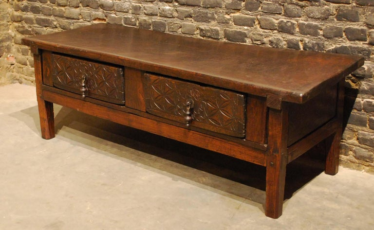 18th Century Antique 18th-Century Rustic Spanish Chestnut Coffee Table with Geometric Carving For Sale