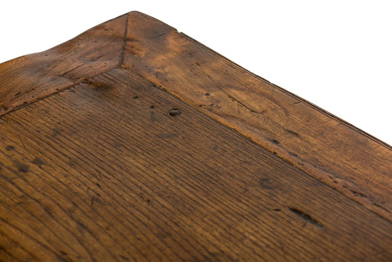 Steel Antique 18th-Century Rustic Spanish Honey Color Chestnut Coffee Table  For Sale