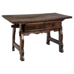 Antique 18th Century Spanish Baroque Chestnut Desk or Sidetable