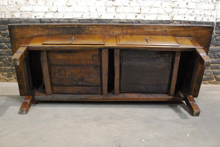 Antique 18th Century Spanish Coffee Table in Solid Chestnut Wood 5