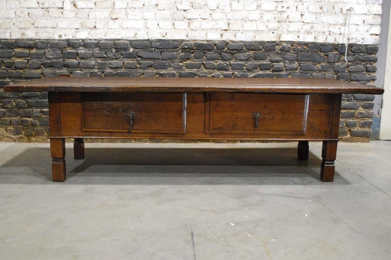 Spanish Colonial Antique 18th Century Spanish Coffee Table in Solid Chestnut Wood
