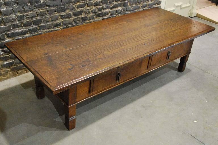 Forged Antique 18th Century Spanish Coffee Table in Solid Chestnut Wood