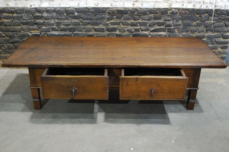 Steel Antique 18th Century Spanish Coffee Table in Solid Chestnut Wood
