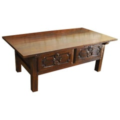 Antique 18th Century Spanish Coffee Table in Solid Chestnut Wood