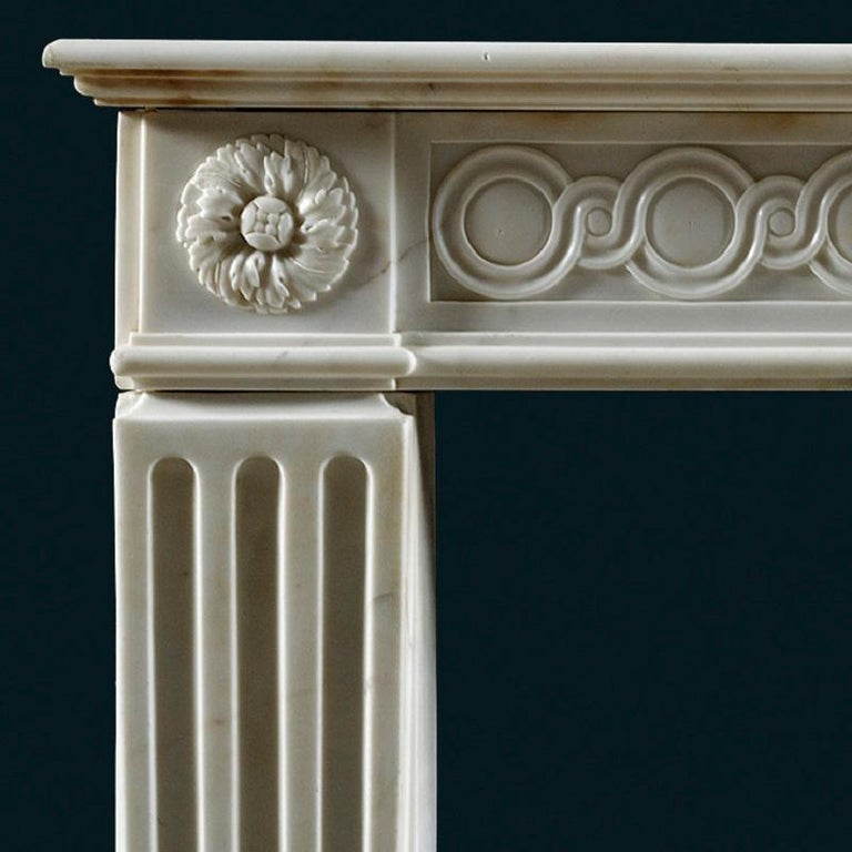 Louis XVI Antique 18th Century Statuary Marble French Fireplace Mantle For Sale