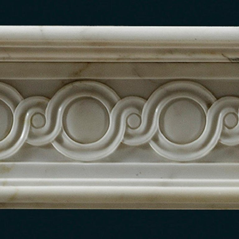 Carved Antique 18th Century Statuary Marble French Fireplace Mantle For Sale
