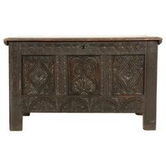 Antique 18th Century Trunk, Carved Oak Coffer, Scotland 1780, B2371
