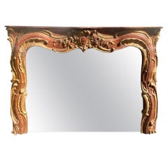 Antique 18th Century Venetian Style Red Giltwood Over Mantel Mirror