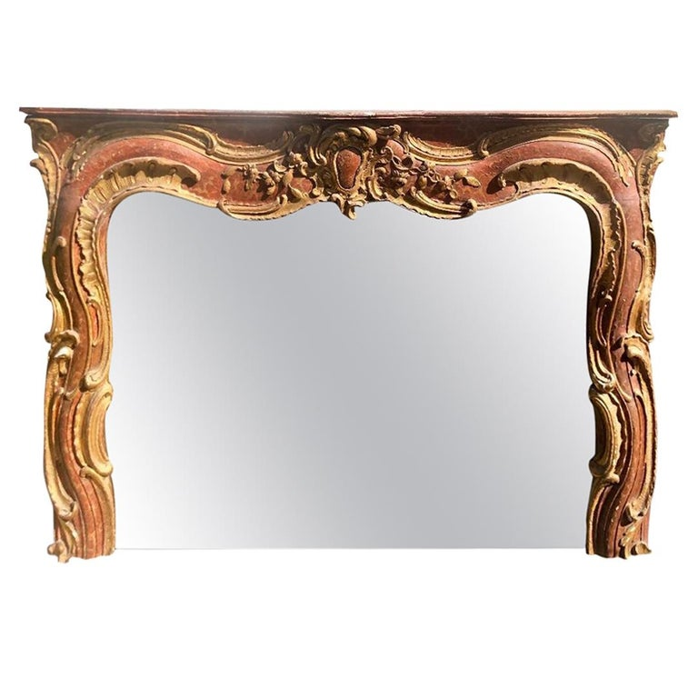 Antique 18th Century Venetian Style Red Giltwood Over Mantel Mirror For Sale