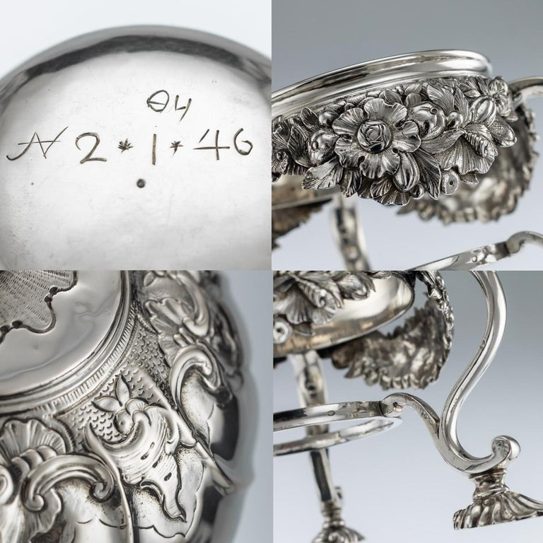 Antique Imperial Russian Solid Silver Tea Kettle on Stand, Moscow, circa 1761 For Sale 6