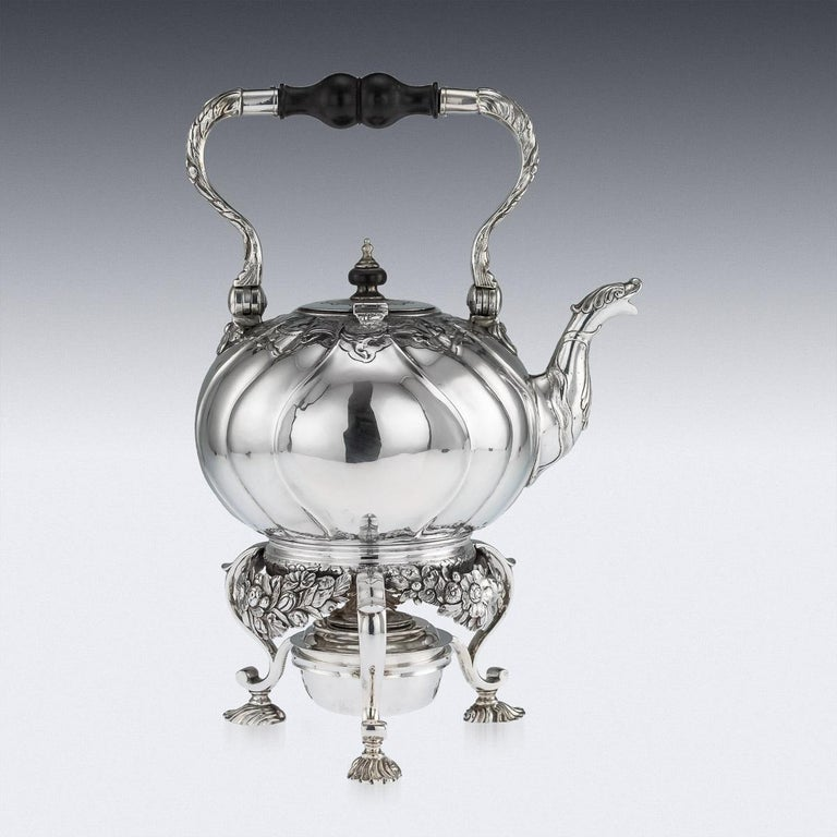 Antique Imperial Russian Solid Silver Tea Kettle on Stand, Moscow, circa 1761 In Good Condition For Sale In London, London