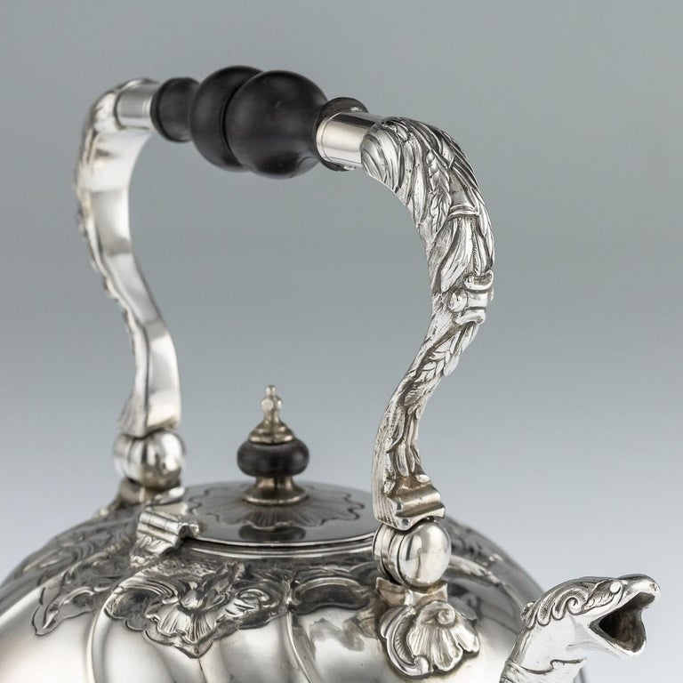 Antique Imperial Russian Solid Silver Tea Kettle on Stand, Moscow, circa 1761 For Sale 5