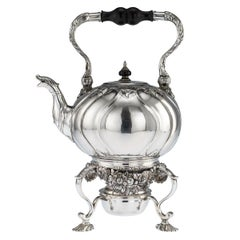 Antique Imperial Russian Solid Silver Tea Kettle on Stand, Moscow, circa 1761