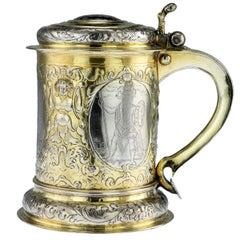 Antique Russian Exceptional Silver-Gilt & Niello Tankard, Moscow, circa 1766