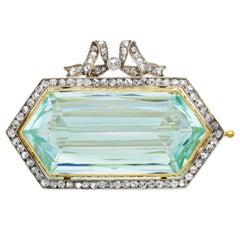 Antique 1900 Fabergé Moscow, Hexagonal Aquamarine and Rose Cut Diamond Brooch