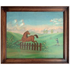 Antique 1900 Oil Painting of a Horse and a Hunter in Landscape Signed J.Neat