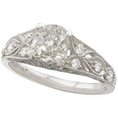 Antique 1900s 1.18 Carat Diamond and Contemporary Platinum Solitaire Ring