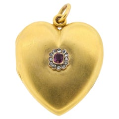 Antique 1900s 14 Karat Yellow Gold Ruby Diamond Heart Locket