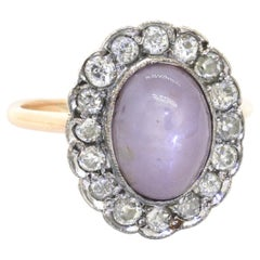 Antique 1900's 14K & Sterling Silver 3.80CT Diamond & Star Sapphire Ring