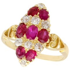 Antique 1900s 1.82 Carat Ruby Diamond Gold Marquise Ring