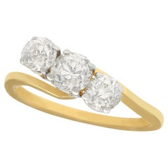 Antique 1900s 2.04 Carat Diamond Gold Trilogy Ring