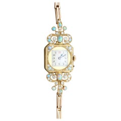 Antique 1900s 2.12 Carat Opal and 1.09 Carat Diamond Yellow Gold Cocktail Watch