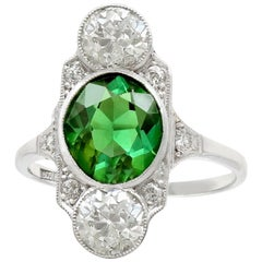 Antique 1900s 2.59 Carat Tourmaline and 1.95 Carat Diamond White Gold Ring