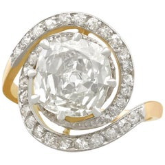 Antique 1900s 3.32 Carat Diamond and Yellow Gold Platinum Set Twist Ring