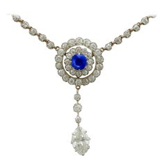 Antique 1900s 3.69 Carat Diamond and Sapphire Gold and Silver Set Necklace