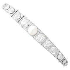 1900s Antique 5.61 Carat Diamond and Pearl White Gold Bracelet