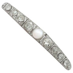Antique 1900s 5.61 Carat Diamond and Pearl White Gold Bracelet