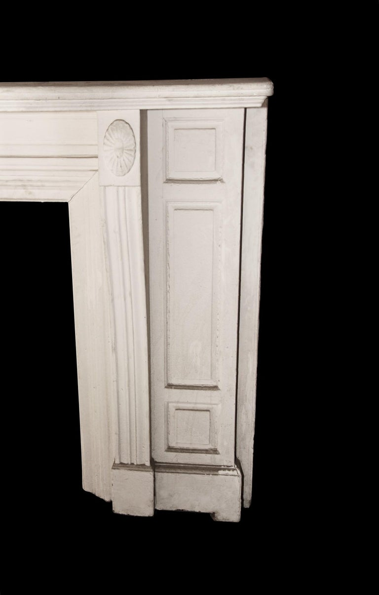 North American Antique 1900s American Victorian White Painted Wooden Mantel For Sale
