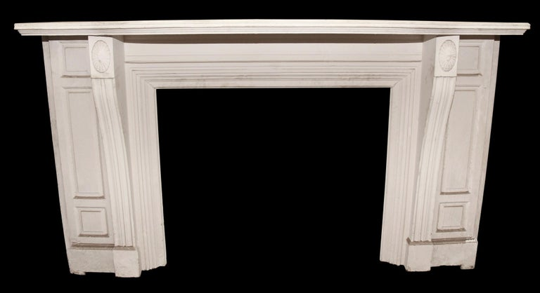20th Century Antique 1900s American Victorian White Painted Wooden Mantel For Sale