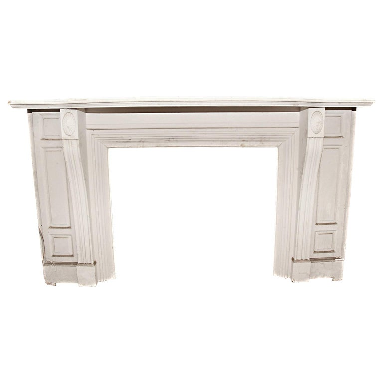 Antique 1900s American Victorian White Painted Wooden Mantel For Sale