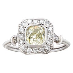 Antique 1900s and Contemporary 1.01 Carat Diamond and Platinum Cocktail Ring