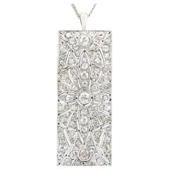Antique 1900s Art Deco 3.95 Carat Diamond and White Gold Pendant