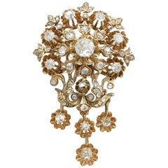 Antique 1900s Austro-Hungarian 3.04 Carat Diamond Yellow Gold Brooch