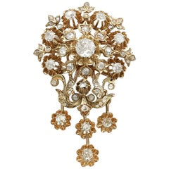 Antique 1900s Austro-Hungarian 3.04 Carat Diamond Yellow Gold Brooch