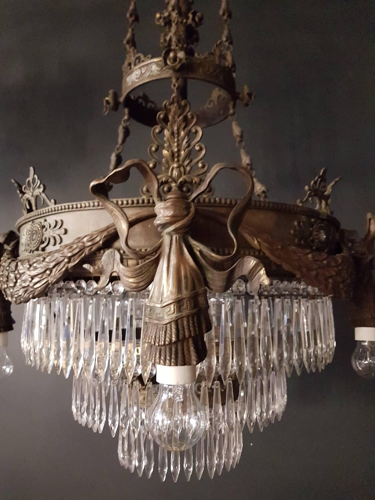 European Antique 1900s Chandelier Crystal Lustre Brass Ceiling Lamp Rarity  For Sale - Antique 1900s Chandelier Crystal Lustre Brass Ceiling Lamp Rarity