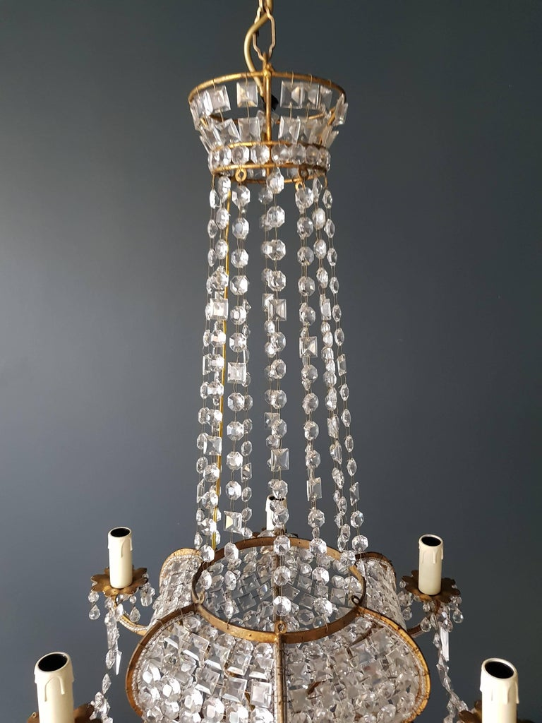 Antique 1900s Chandelier Crystal Lustre Brass Ceiling Lamp Rarity Neoclassical 2