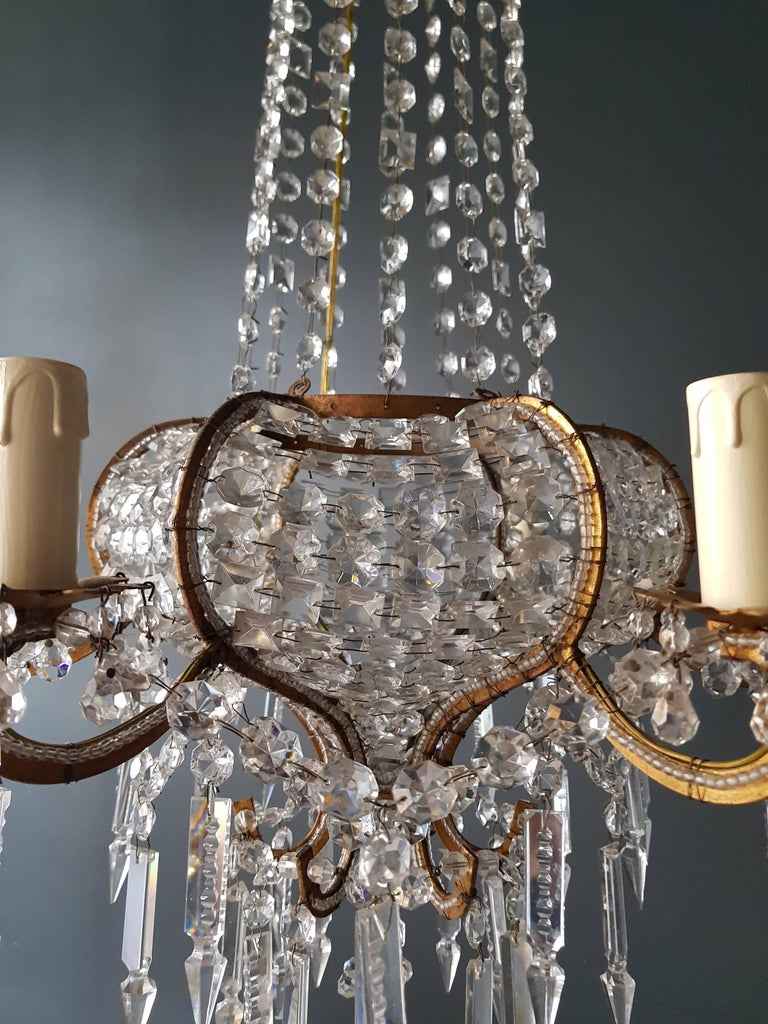 Antique 1900s Chandelier Crystal Lustre Brass Ceiling Lamp Rarity Neoclassical 3