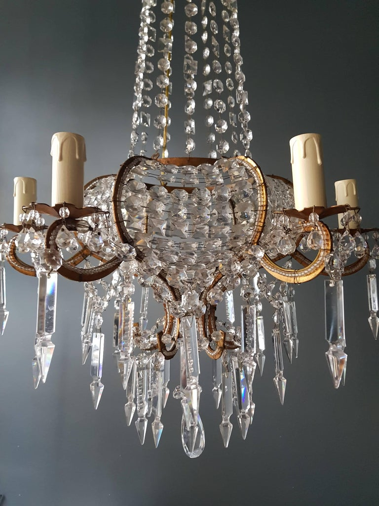 Antique 1900s Chandelier Crystal Lustre Brass Ceiling Lamp Rarity Neoclassical 4