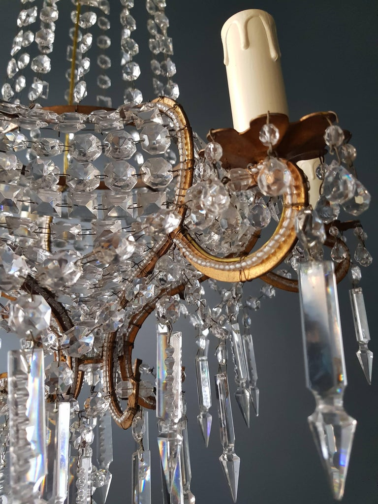 Antique 1900s Chandelier Crystal Lustre Brass Ceiling Lamp Rarity Neoclassical 5