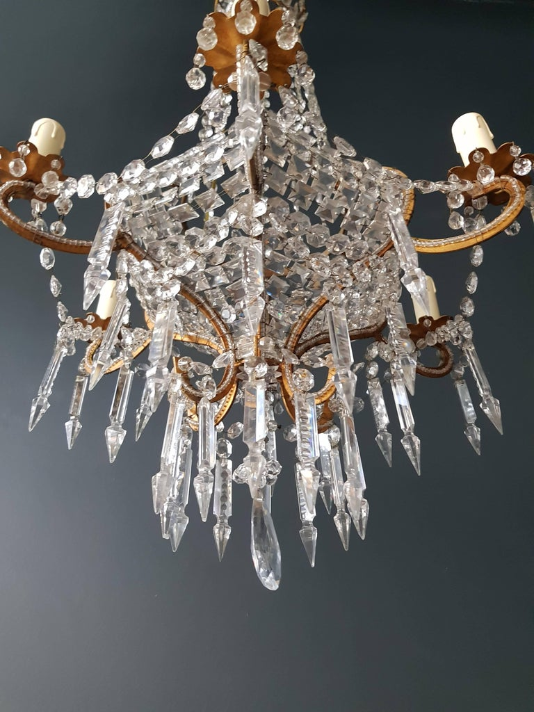 Antique 1900s Chandelier Crystal Lustre Brass Ceiling Lamp Rarity Neoclassical 7