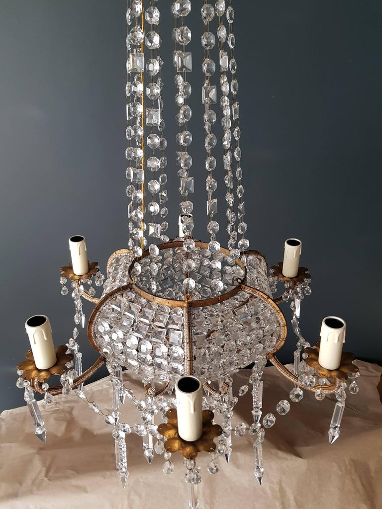Antique 1900s Chandelier Crystal Lustre Brass Ceiling Lamp Rarity Neoclassical 8