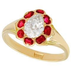 Antique 1900s Diamond and Ruby Yellow Gold Cocktail Ring