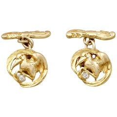 Antique 1900s Pair of 18 Karat Yellow Gold 'Bird' Cufflinks