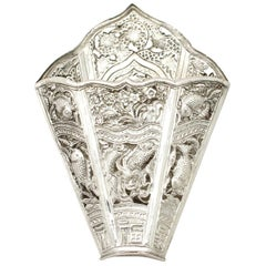 Antique 1900s Peranakan Silver Sirih Leaf Holder