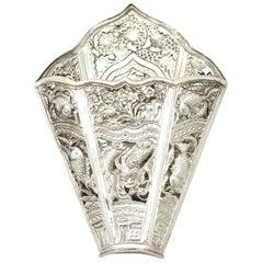 Antique 1900s Peranakan Silver Sirih Leaf Holder