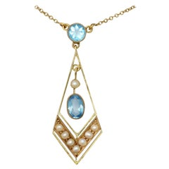 Antique 1900s Seed Pearl and Aquamarine Yellow Gold Pendant